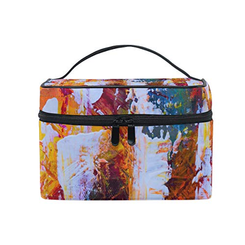 TIKISMILE Abstract Expressionism Painting Cosmetic Bag Carrying Portable Zip Travel Makeup toiletry Bag for women