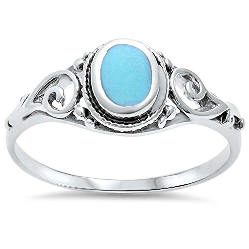 Blue Apple Co. Filigree Oval Simulated Turquoise Ring 925 Sterling Silver,Size-5