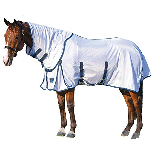 """Shires Performance Fly Sheet and Neck Set White/Navy 84"""""""