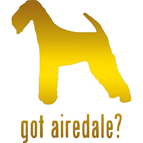 ANGDEST Animal Got Airedale Terrier Dog 1 (Metallic Gold) (Set of 2) Premium Waterproof Vinyl Decal Stickers for Laptop Phone Accessory Helmet Car Window Bumper Mug Tuber Cup Door Wall Decoration (Gold Airedale Dog)
