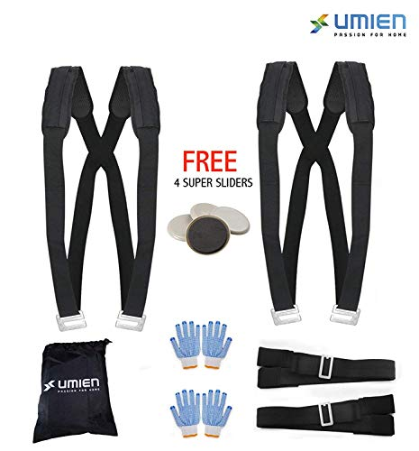 Moving Straps Set for Lifting & Carrying Heavy Objects, Appliances & Furniture Two Person Pain-Free Moving Dolly - Extra 4 Gloves, Storage Bag & 4 ()