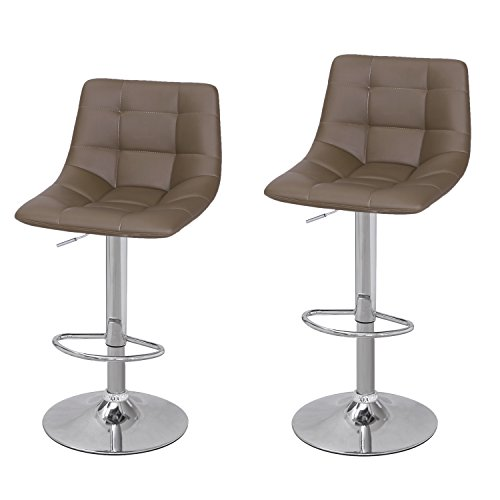 Joveco Contemporary Modern Swivel Adjustable Leather Bottom Tufted Coffee Brown Armless Bar Stool with Chrome Base – Set of 2 Coffee Brown