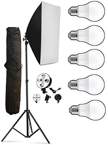 HIFFIN® PRO HD 5 Soft Led Video Light Softbox Kit   1 Point Lighting   Stand   for YouTube Shooting,Videography, Product Photography, Continuous Studio Lights, Key Fill and Back Light