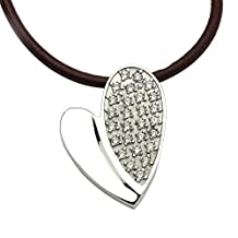 Stainless Steel Hart Shape cz Pendant Personalized & Custom Free Engraving