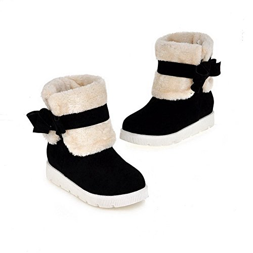 Toe Round Low Boots Black On Pull AmoonyFashion Closed Heels Low Frosted Top Women's H0fnYxR