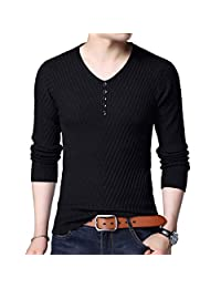 AIEOE Men Daily Casual Sweater V Neck Flexible Knit Pullover Tops Stitching Slim
