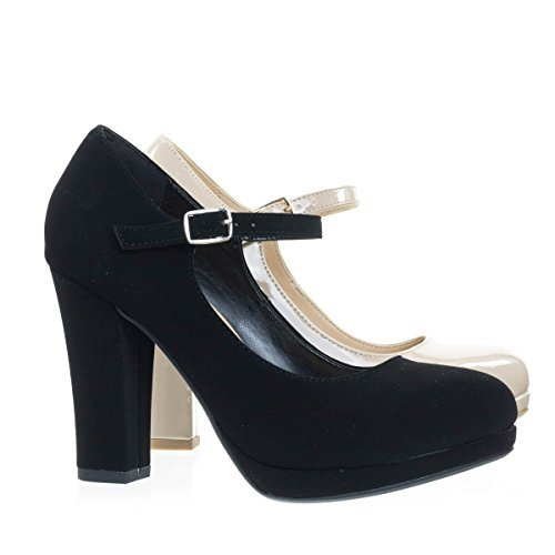 City Classified Ayden Black Nubuck Foam Padded Comfortable Mary-Jane Dress Pump, Chunky Block High Heel -6.5
