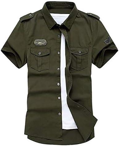 IYFBXl Camisa Militar básica de Hombre - Color sólido Bordado, Verde Militar, XL: Amazon.es: Deportes y aire libre