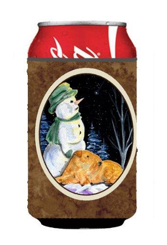 Snowman Bottle Hugger - Snowman with Welsh Terrier Can or Bottle Beverage Insulator Hugger