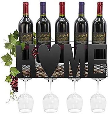 Botellero De Pared   DecoracióN De Hogar Y Cocina   DiseñO De InstalacióN FáCil   El Soporte De La Botella De Vino Puede Contener 5 Botellas De Vino, 5 Copas De Vino Tinto (Negro, 46 * 11 * 20 Cm)