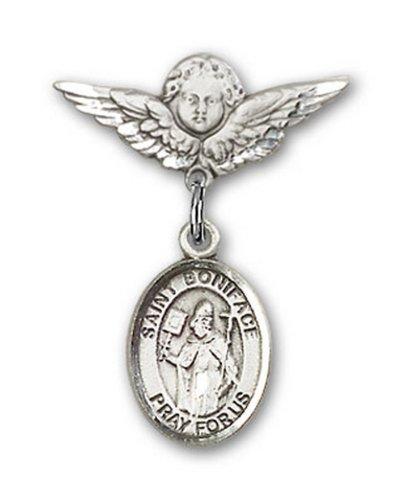 Icecarats Créatrice De Bijoux En Argent Sterling St. Boniface Charme Ange Pin Badge 7/8 X 3/4