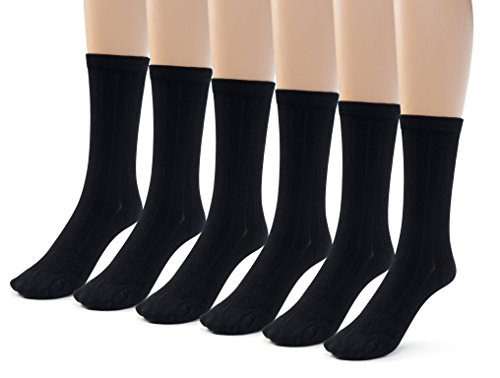 - Silky Toes 6 Pk Bamboo Ribbed Boys Girls Crew Socks, Casual School Uniform Basic Socks (Small (7-8), Black (6 Pack))