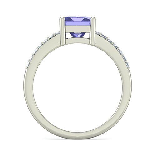 14 K Or blanc, 0,14 carat Diamant Blanc (IJ | SI) tanzanite et diamant Bague