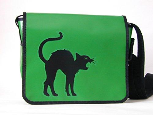 Schultertasche Katzenmotiv Schwarz Stubentiger H 23, B 30, T 10
