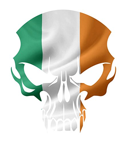 Irish Decal Products (Irish Lucky Flag Skull decal set of 2 Vinyl Sticker indoor outdoor for Auto glass walls or any surface)