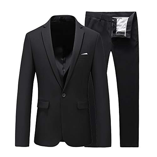 UNINUKOO Mens Slim Fit 2 Piece Single Breasted Jacket Party Prom Tuxedo SuitsUS Size 34 (Label Size XL) Black