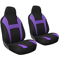 OxGord 2pc Integrated Flat Cloth Bucket Seat Covers - Universal Fit for Car, Truck, Van, SUV - Purple/ Black