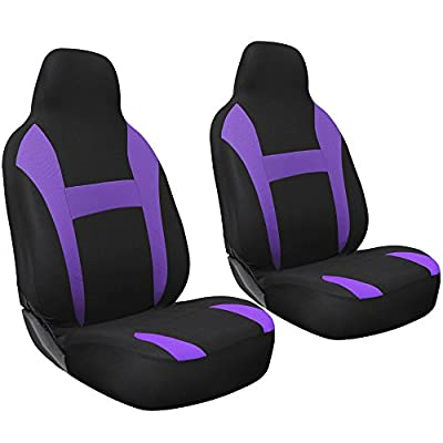 OxGord 2pc Integrated Flat Cloth Bucket Seat Covers - Universal Fit for Car, Truck, Van, SUV - Purple/ Black