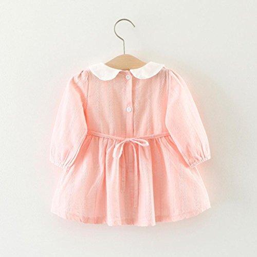 Amlaiworld Baby Mädchen langarm blumen Flickwerk kleider Prinzessin Niedlich Kleinkind kleidung,0-24Monate Rosa