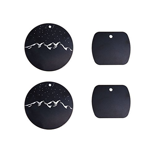 Metal Plate with 3M Adhesive Back for Magnetic Car Mount Cell Phone Holder GPS and Tablet Holder (2 Rectangle & 2 Round) (Moonlight Version)