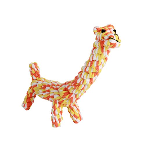 LOONG BABY Cotton Dental Teaser Teeth Cleaning Puppy Pet Chew Rope Toys for Small Dog Biting 1 Pcs (Giraffe)
