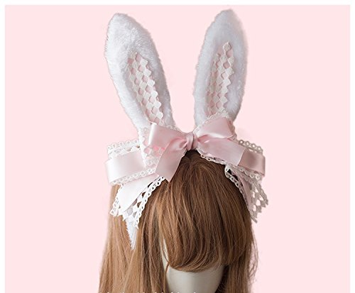 Handmade Hair Accessory Headband Gothic lolita cosplay Cute Rabbit Ears Bow Lace Hair Band Headwear (Pink) by TanQiang