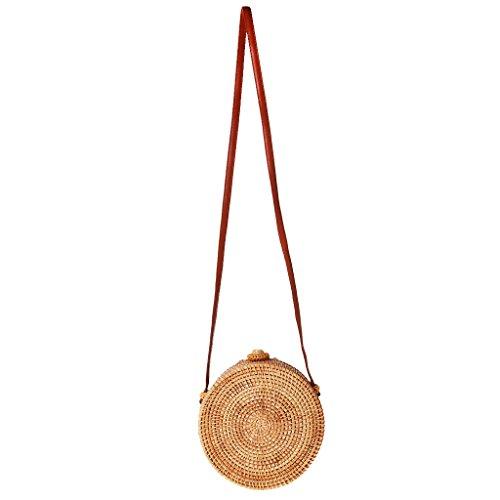 a da a Baosity borse in Borsa spiaggia intrecciato Borsa Women Borsa 01 tracolla Girl Girasole tondo tracolla tessuto OOpvxA