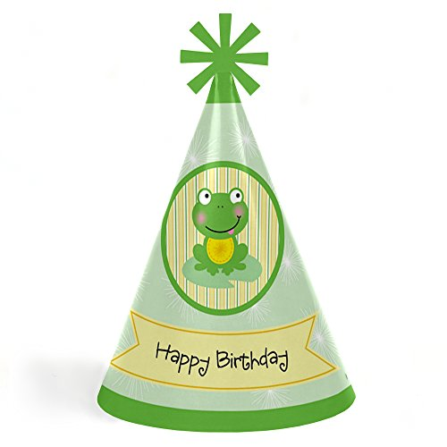 Froggy Frog - Cone Happy Birthday Party Hats for Kids and Adults - Set of 8 (Standard Size) (Birthday Frog)