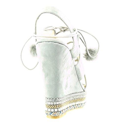 Angkorly - damen Schuhe Sandalen Espadrilles - Plateauschuhe - Offen - Perle - Geflochten - Bommel Keilabsatz high heel 13 CM - Grau