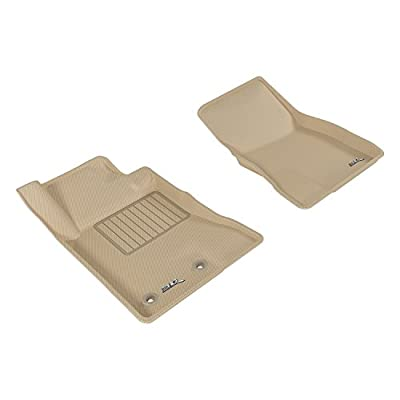 3D MAXpider Front Row Custom Fit Floor Mat for Select Ford Mustang Models - Kagu Rubber (Tan): Automotive