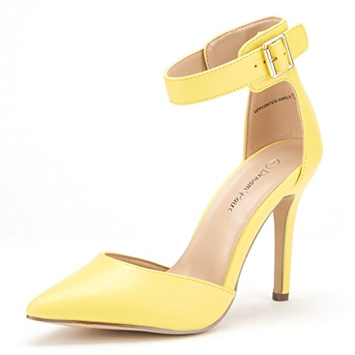 DREAM PAIRS Oppointed-Ankle Women's Pointed Toe Ankle Strap D'Orsay High Heel Stiletto Pumps Shoes Yellow-SZ-9.5