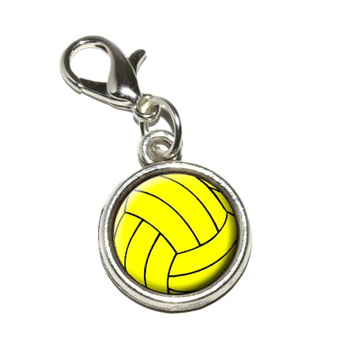 Graphics and More Water Polo Water Polo Ball Antiqued Bracelet Pendant Zipper Pull Charm with Lobster Clasp