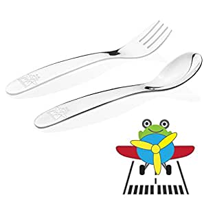 Kiddobloom Baby / Early Toddler (up to 18 months) Stainless Steel Utensil Set, Airplane model, 2-piece Tot Flatware Set Includes Spoon and Fork. Perfect for Baby Shower Gifts.