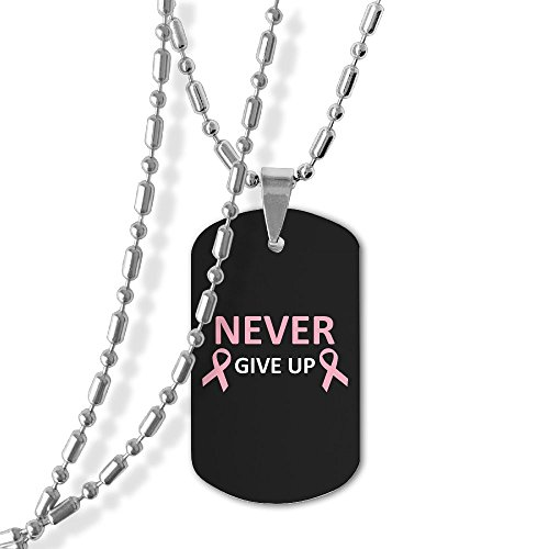 Never Give Up Breast Cancer Dog Tag Necklace Military Pendant Necklace Breast Cancer Dog Tag