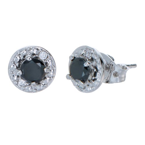 Sterling Silver Black Diamond Stud Earrings (1 cttw)