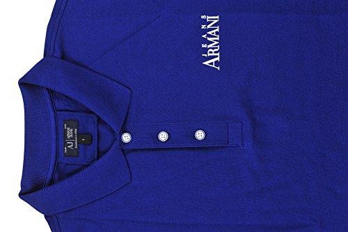 Armani Jeans Polo Poloshirt Herren Blau Weiß Regular Fit Baumwolle Casual L