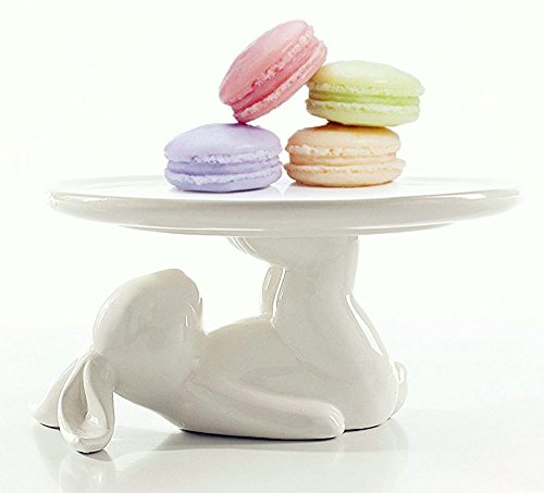 Ceramic Plates Cupcake Stand for Desserts and Cookies, 6.6 Inch White, Kitchen Decor, Bunny Easter Decorations (Plate Kitchen Stand)