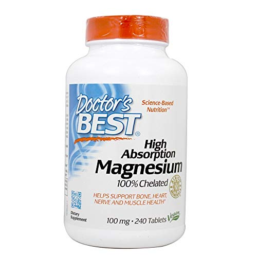 Doctor's Best High Absorption Chelated Magnesium - 240 Tablets (Tablets Chelated Magnesium)