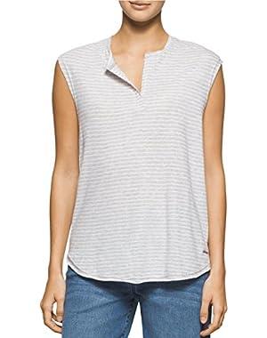 Jeans Striped Split-Neck Top