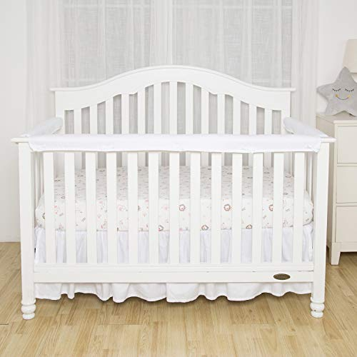 TILLYOU 3-Piece Padded Baby Crib Rail Cover Protector Set from Chewing, Safe Teething Guard Wrap for Standard Cribs, 100% Silky Soft Microfiber Polyester, Fits Side and Front Rails, ()
