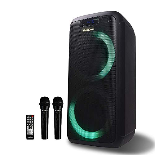 Mediacom MCI 727 Portable Party Speaker with Battery, Bluetooth and 2 Wireless Mics