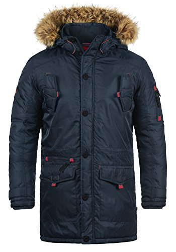 Blue Veste Parka Homme À Pour Fur Capuche D'hiver 1991 Manteau Insignia Longue Betto Avec Faux solid qUFpT6p