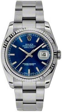 Rolex Datejust 36 Blue Dial with Index Hour Markers Men