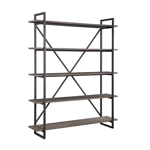 "Zeke 60"" Bookcase in Rocky Mountain Gray with Five Wood Shelves And Metal Frame, by Artum Hill"