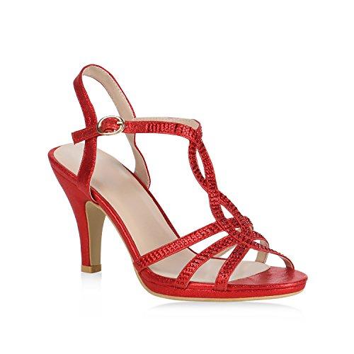 Stiefelparadies Damen RiemchenSandaleetten High Heels Sandaletten Stiletto Stiletto Stiletto Party Schuhe Glitzer Elegante Abendschuhe Abiball Flandell Rot 5d5bdb