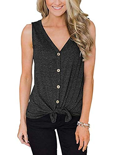 EasySmile Womens Button Down Tank Tops Tie Knot Shirts Loose Fitting V Neck Casual Tunics Blouses S-XXL Grey ()