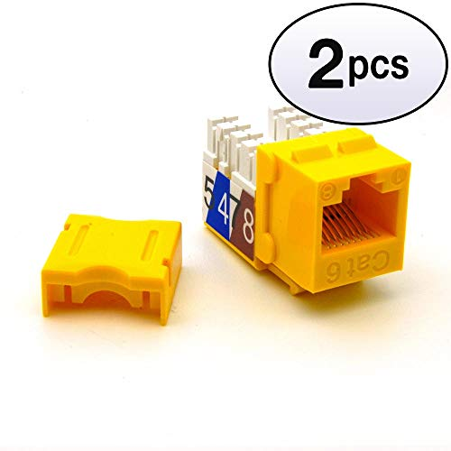 - GOWOS (2 Pack) Cat.6 RJ45 110 Type Keystone Jack Yellow