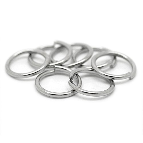 VALYRIA 200pcs Stainless Steel Open Jump Rings Connectors Jewelry finding Silver Tone -