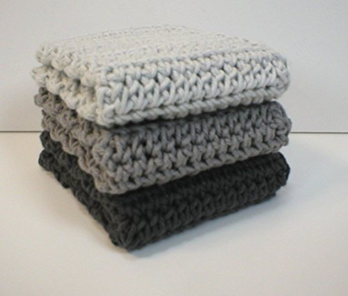 Handmade Crochet Cotton Dishcloths or Washcloths (Set of 3), Three shades of Grey: Light Grey, Medium Silver Grey, and Dark Ash Grey