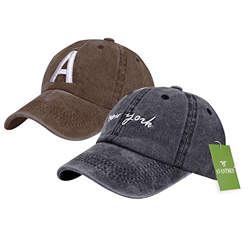 Adjustable Toddler Cap - AVANTMEN Kids Baseball Cap Distressed Washed Sunhat Toddlers Little Boys Girls 100% Cotton 2-7 Years (2 Pack Letter-A Black/Brown)
